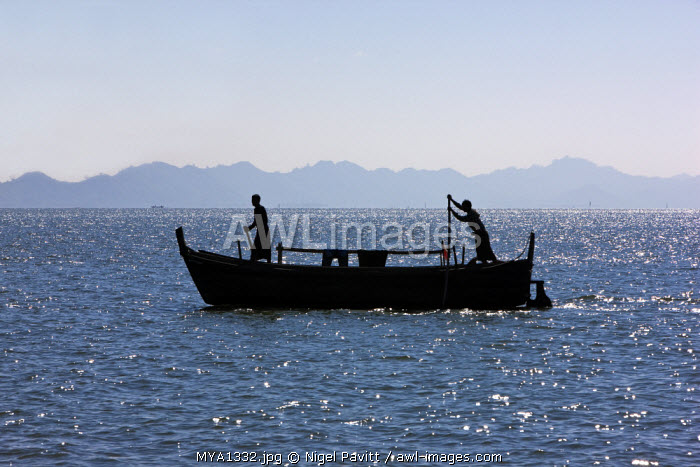 Myanmar, Burma, Sittwe. Fishermen pole a fishing boat in shallow water to Sittwe harbour.