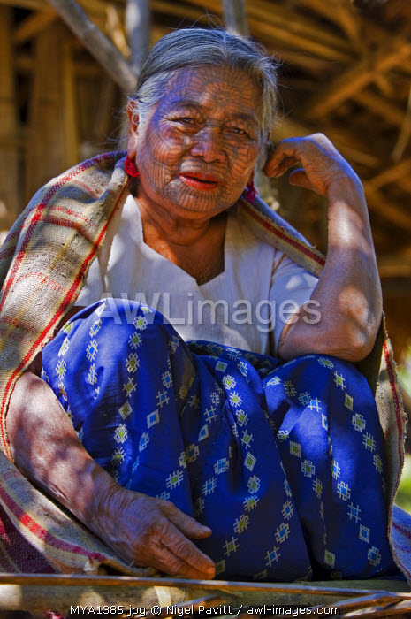 Myanmar, Chin State, Kyi Chaung Village. A Chin woman with tattooed face. It was customary in the past for girls to be tattooed at 14 or 15 years old, a painful process which took two days.