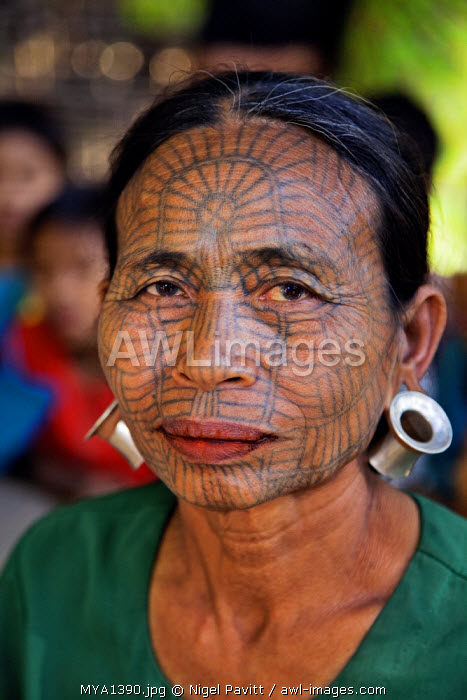 awl-images.com - Myanmar / Myanmar, Chin State, Panbaung. A Chin woman with tattooed face. It was customary in the past for girls to be tattooed at 14 or 15 years old, a painful process which took two days.
