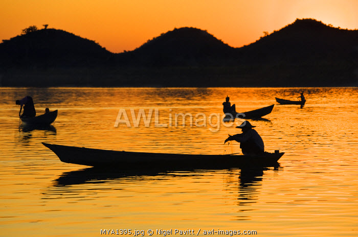 Fishermen bathed in the golden hues of the setting sun as they fish from their little boats on the Lay Myo River.
