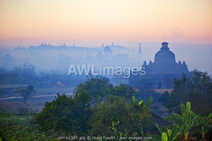 Early morning mist shrouds the historic temples of Mrauk U which were built in the Rakhine style between the 15th and 17th centuries.