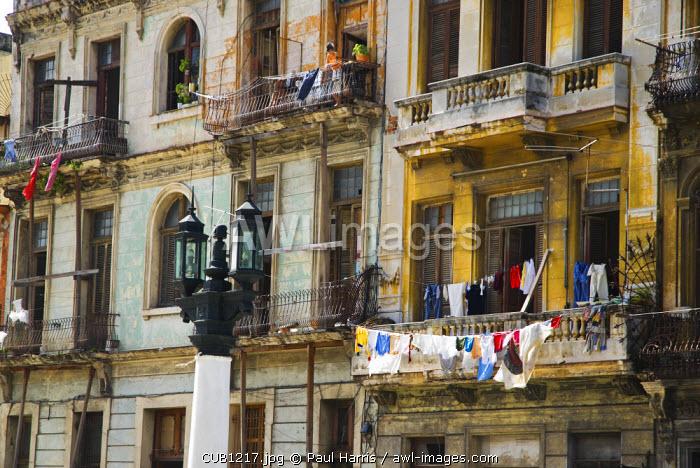 Cuba, Havana. Residential building behind the Capitolio building, Havana