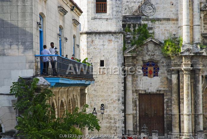 Cuba, Havana. Cafe in Plaza de la Catedral, Havana