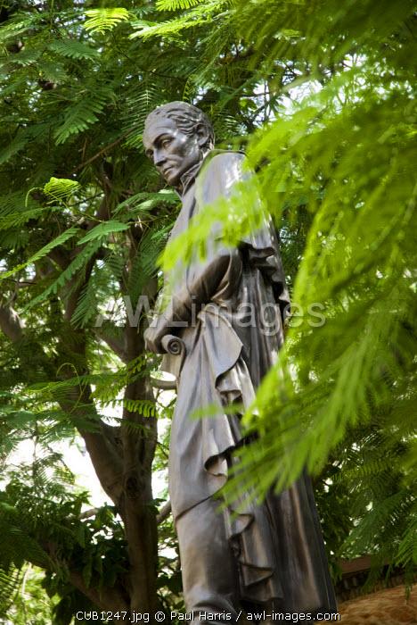 Cuba, Havana. Statue of Simon Bolivar, Plaza de Simon Bolivar, Calle Mercaderes, Havana