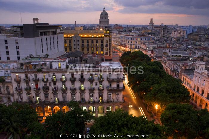 Cuba, Havana. Overview of the city centre, Havana