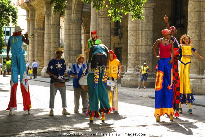 Cuba, Havana. Impromtu street parade, Plaza Vieja