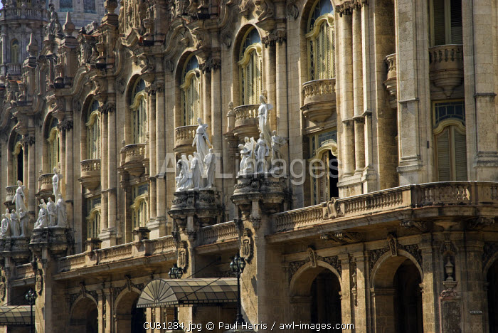 Cuba, Havana. The Grand Theatre (Gran Teatro) was built in 1915 and designed by Giuseppe Moretti. The building houses many performances by the Cuban National Ballet Company and opera performances in the García Lorca Auditorium.
