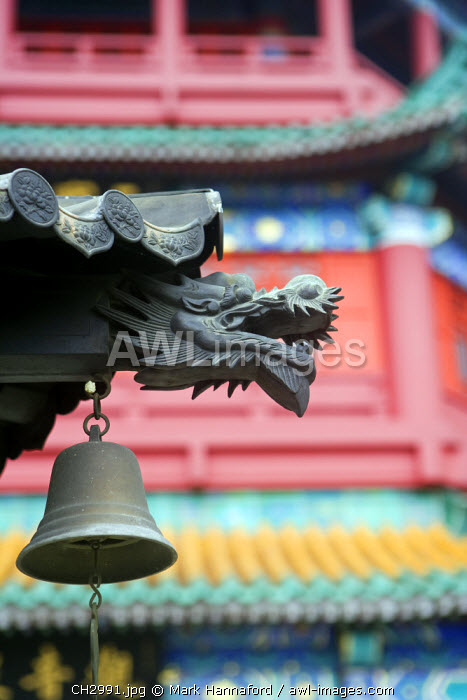 China, Hong Kong, Lantau Island, Kwun Yam Temple.   Detial from the front of this picturesque temple on the outskirts of Tai O