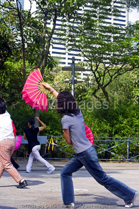China, Hong Kong, Causeway Bay, Victoria Park. Each morning crowds of Hong residents gather in Victoria Park to practice varoius forms of martial arts and collective exercises.
