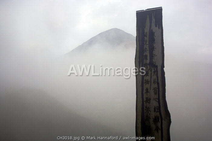 China, Hong Kong, Lantau Island. The Wisdom trail with Lantau Peak in the background  The outdoor wooden version of the 260-word prayer is on 38 wooden rectangular beams or obelisks. The beams are in the shape of a figure eight to represent infinity. The Heart Sutra is on the beams. The Chinese calligraphy is a work of art.