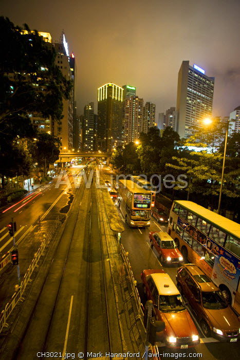 China, Hong Kong, Causeway Bay   The center of the city illluminated a night by traffic, trams and street lights