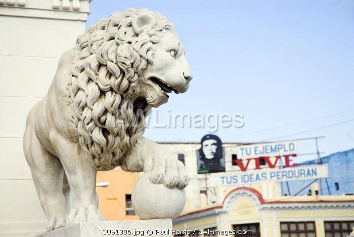 Cuba, Cienfuegos. Staute of a Lion on the edge of Jose Marti Plaza, Cienfuegos