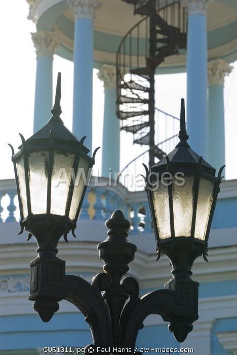 Cuba, Cienfuegos. Street lamps in front of Casa de Cultura Benjamin Duarte, Jose Marti Plaza