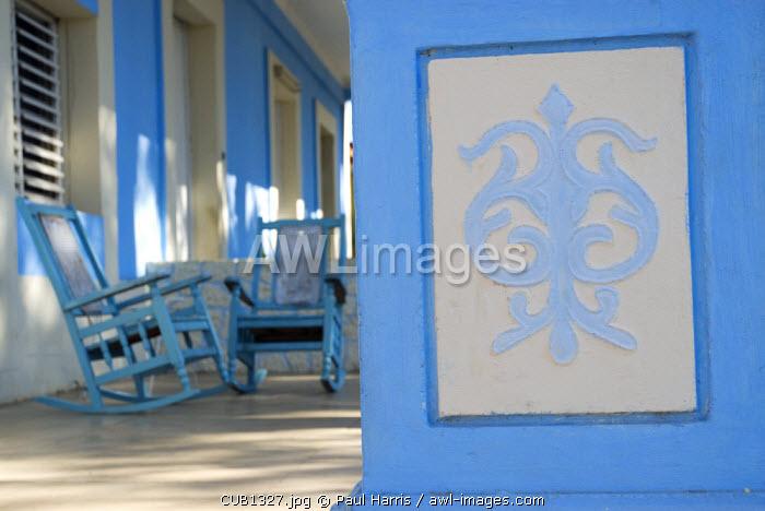 Cuba, Vinales. House veranda in the centre of Vinales