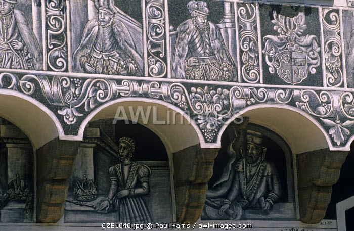 """Czech Republic. Sgraffito exterior, Slavonice, South Moravia. The term sgraffito comes from the Italian word sgraffire which means (literally) """"to scratch�."""