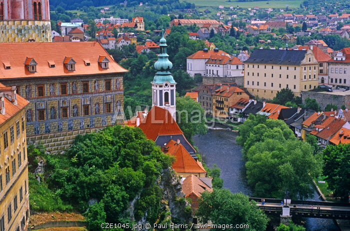 """Czech Republic. The town centre of Cesky Krumlov. According to legend, the name Krumlov is derived from the German """"Krumme Aue"""", which may be translated as """"crooked meadow"""". The name comes from the natural topography of the town, specifically from the tightly crooked meander of the Vltava river."""