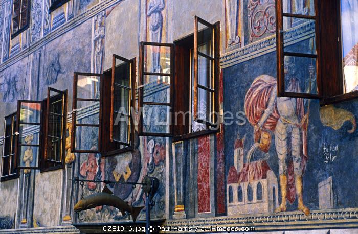 Czech Republic. Frescos on a town guest house, Cesky Krumlov.