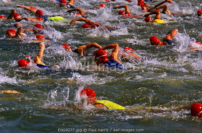 England, Swindon. Participants in a Triathalon competition, Swindon, England