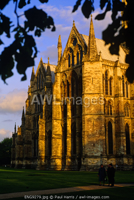 England, Wiltshire. Salisbury Cathedral, Wiltshire. Built between 1220 and 1258, in one architectural style, Salisbury Cathedral is Britain's finest 13th century Gothic Cathedral. It has Europe's oldest working clock, the largest cathedral cloisters and Britains tallest medieval spire.