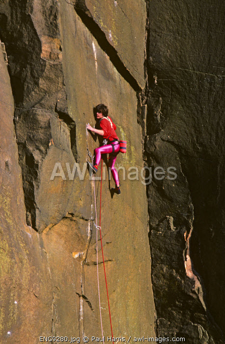 England, Derbyshire. Rock climber on the route, White Wall, Millstone Edge, Derbyshire
