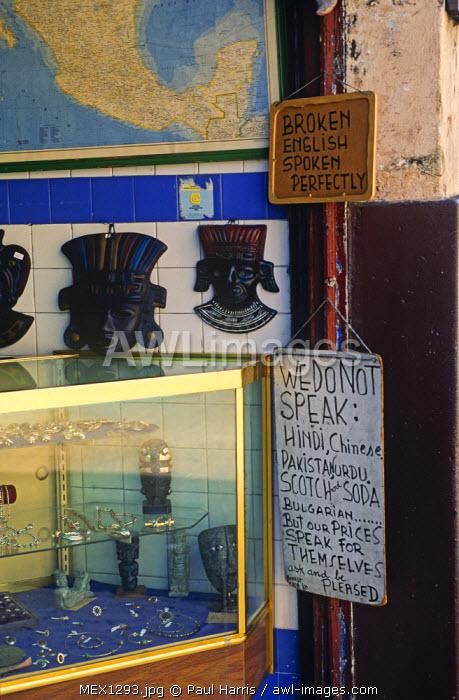 Mexico, Yucatan, Merida. Sign at a tourist shop.