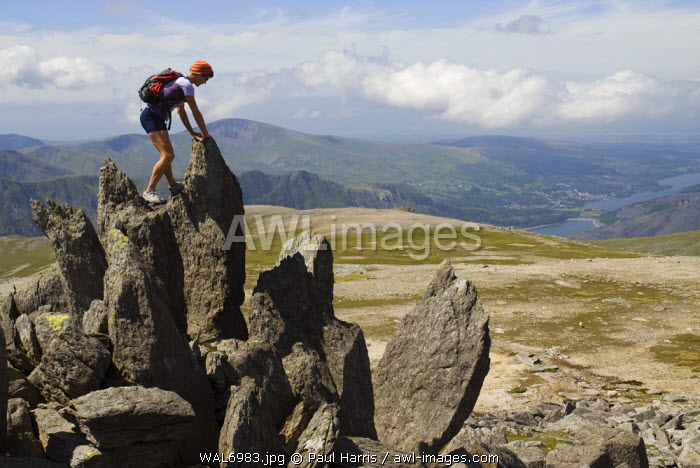 North Wales, Snowdonia. Active woman walking and climbing in the Ogwen Valley, Snowdonia, North Wales (MR)