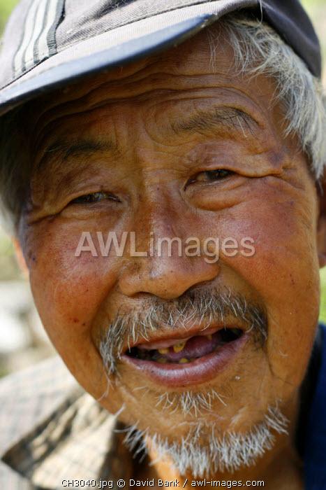 China, Simatai. Man on the Great Wall of China in Simatai.