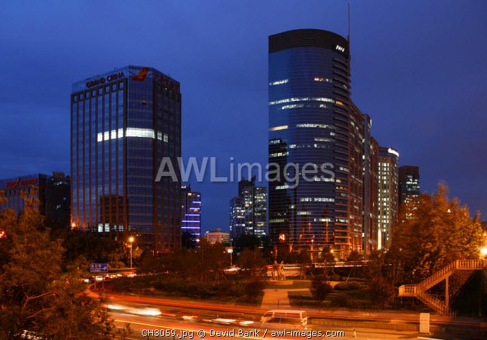 China, Beijing. Office Buildings in Beijing taken at twilight.