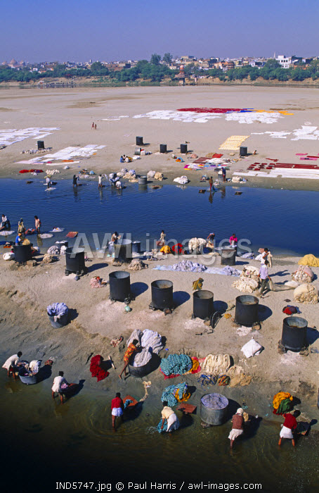 India, Uttar Pradesh. Locals washing clothes in the Yamuna River near the Taj Mahal, Uttar Pradesh, India
