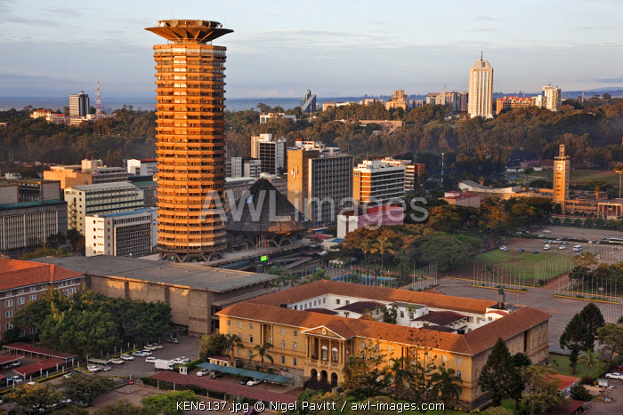 awl-images.com - Kenya / Kenya, Nairobi. Nairobi at sunrise with the circular tower of the Kenyatta Conference Centre in the foreground.