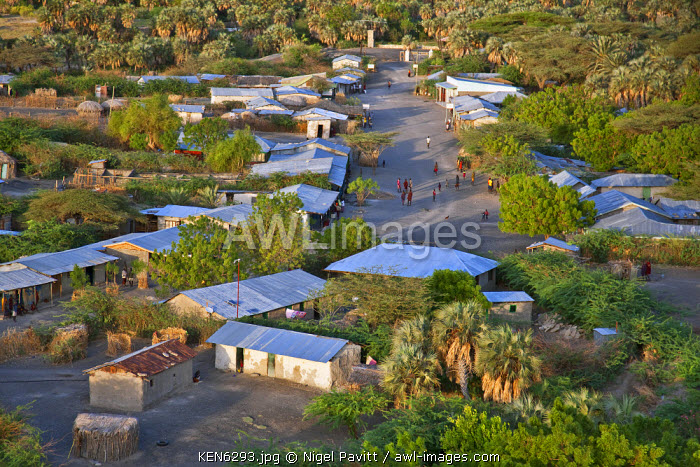 awl-images.com - Kenya / An aerial view of the small town of Loiengalani which is situated beside springs near the eastern shores of Lake Turkana.