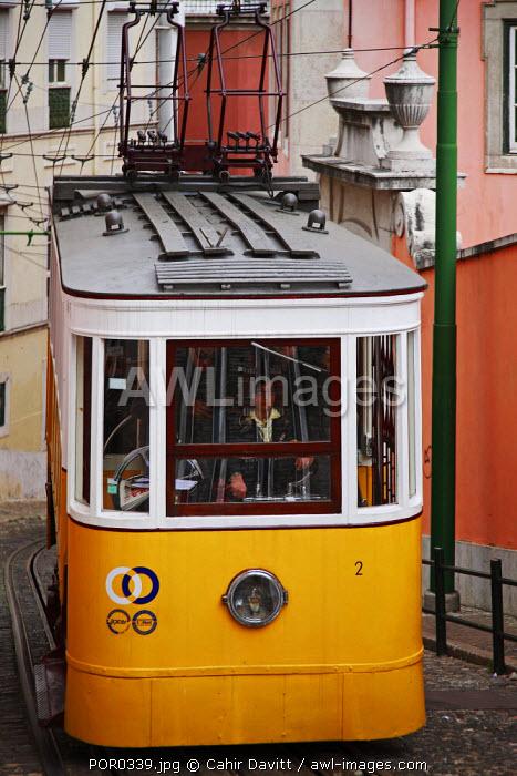 Portugal, Lisboa, Lisbon. Funicular tram in Lisbon.