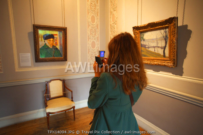 England, London, Somerset House, Tourist in the Courtauld Gallery