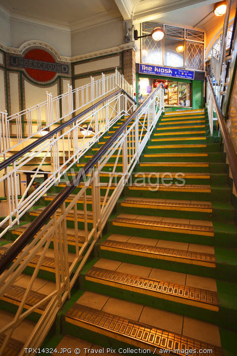 England, London, Maida Vale Underground Subway Station Exit Stairs