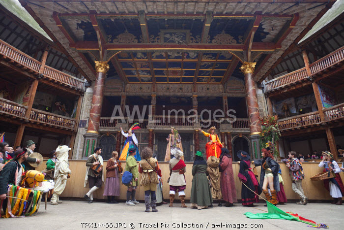 England, London, Southwark, Interior of Shakespeares Globe Theatre