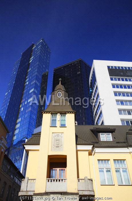Estonia, Tallinn, Contrasting Modern And Traditional Architecture In Business District