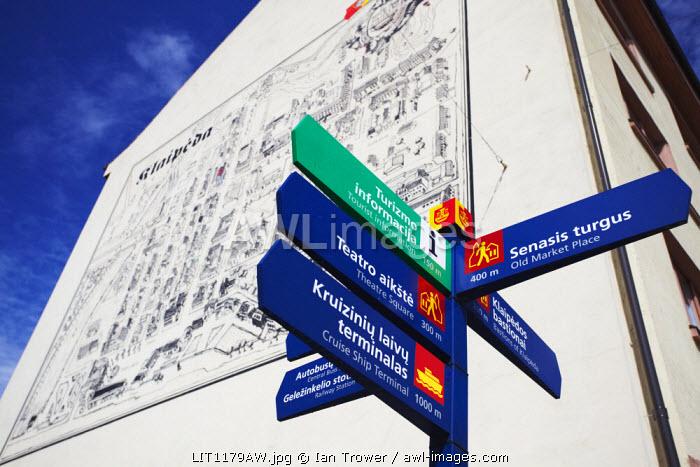 Lithuania, Western Lithuania, Klaipeda, Tourist Information Sign