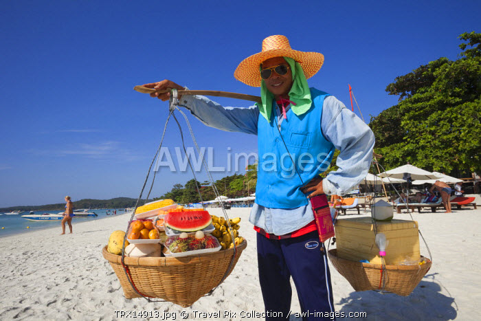 Thailand, Ko Samet, Fruit Vendor on Saikaew Beach