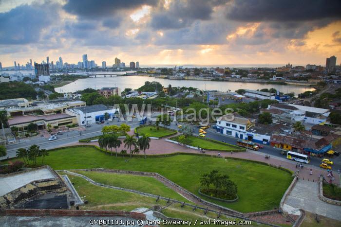 Colombia, Bolivar, Cartagena De Indias, San Felipe Castle, View from Castle looking towards Bocogrande