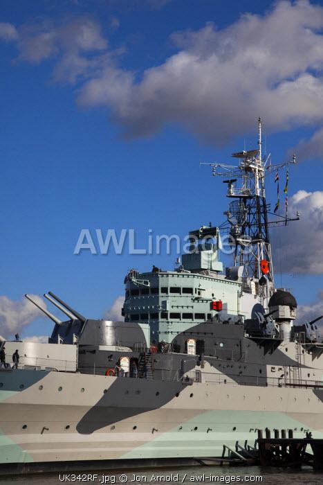 HMS Belfast on the River Thames, London, England