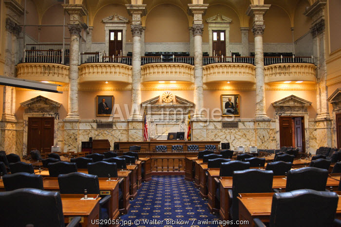 USA, Maryland, Annapolis, Maryland State Capitol building, House legislative chamber
