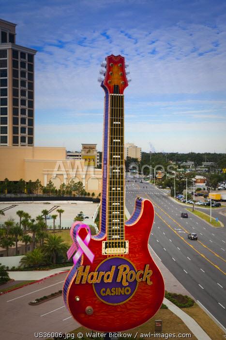 USA, Mississippi, Biloxi, Hard Rock and Beau Rivage Casinos, high angle view, Beach Boulevard