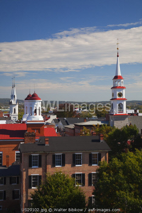 USA, Maryland, Frederick, town churches from city hall