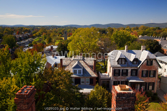 USA, Maryland, Frederick, view towards Baker Park from city hall