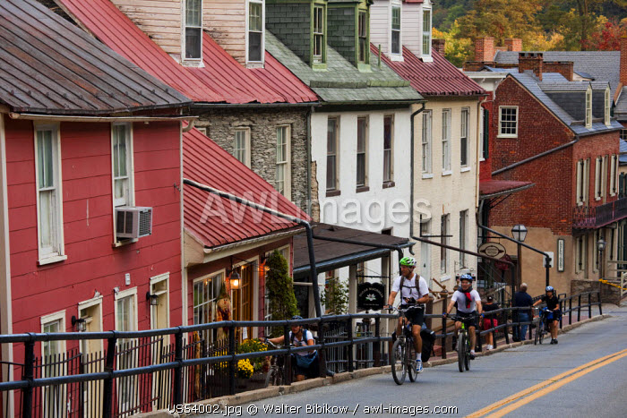 USA, West Virginia, Harpers Ferry, Harpers Ferry National Historic Park, buildings along High Street