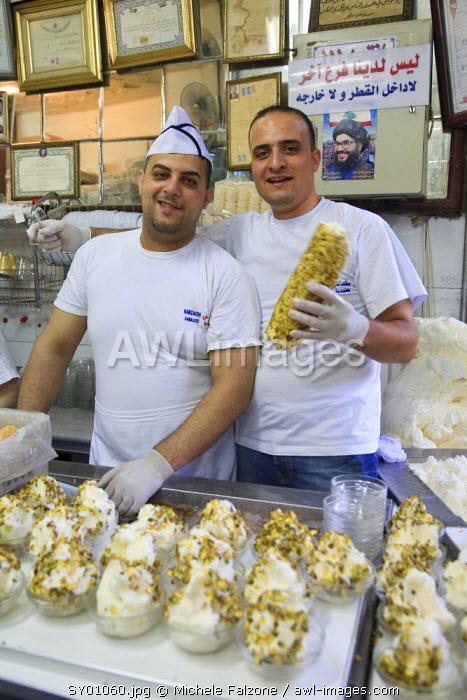 Syria, Damascus, Old Town, Souq al-Hamidiyya, Bekdach historic Ice Cream shop