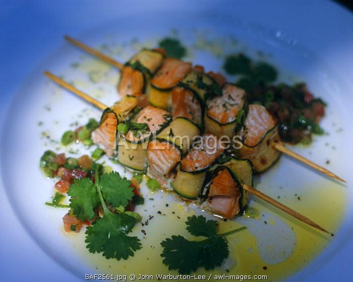 South Africa, Western Cape, Hermon.  Salmon kebabs, served at Bartholomeus Klip  farmhouse.