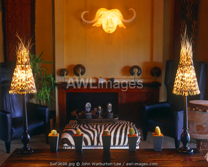 South Africa, Mpumalanga, Sabi Sands Game Reserve.  A stylish sitting room at Exeter Game Lodge.