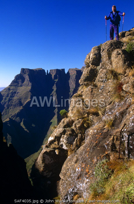 South Africa, KwaZulu Natal, Royal Natal National Park. A trekker stops on a high trail with The Amphitheatre behind.