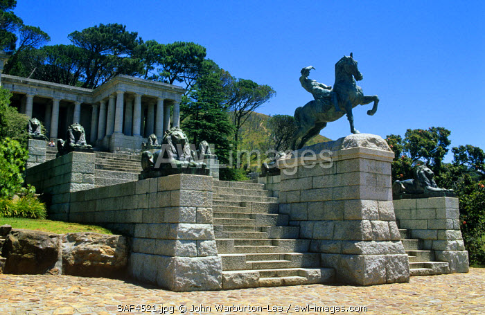 South Africa, Cape Town.  The Rhodes Memorial is dedicated to the memory of Cecil John Rhodes and looks down from Devil's Peak.